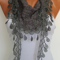 Dark Grey Shawl Scarf - Headband - Cowl with Lace Edge Summer Trends-