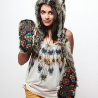 Spirit Hoods Grey Wolf Full Hood - Navajo - Punk.com