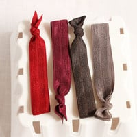 Trendy No Tug Hair Ties, Elastic Hair Ties, Berry, Cranberry, Rhubarb, Fall Trend