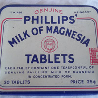 Vintage Advertising Phillips Tin Milk of Magnesia