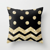 Black & Gold Love Throw Pillow by Pink Berry Pattern