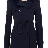 Navy Blue Double Breasted Coat with Tie Belt&Side Pockets
