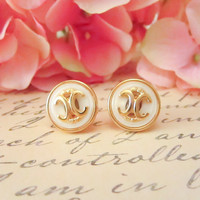 Vintage Button Earrings, Gold CC symbol earrings, gold and cream button earrings, gold plated post, bridesmaid earrings, statement earrings