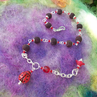 Ladybug Bracelet with Rose Petal Beads