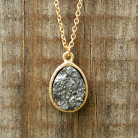 Sparkling Charbon Druzy Necklace