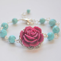 Fuchsia Rose and Turquoise Beaded Bracelet