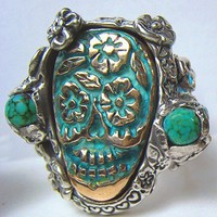 Turquoise Sugar Skull Silver and bronze with Turquoises made to any size