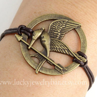 Bracelet-hunger games bracelet, bird bracelet, arrow bracelet, dark brown real leather bracelet