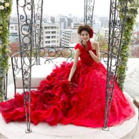 Contemporary Red Wedding Dress - Island Bridal