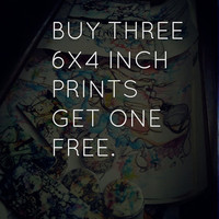 Abstract art print illustration art bundle deal, But four 6x4inch prints get one FREE.Glossy and matted art print reproductions