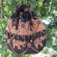 Whimisical Elephant Handmade Beaded Handbag