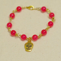 Hot Pink Sugar Skull Bracelet - Hot Pink Beaded Bracelet w/ Detailed Gold Sugar Skull Charm