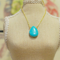 Dainty Turquoise Drop Necklace - Turquoise Briolette Charm on Delicate Gold Chain Necklace