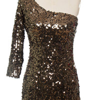 Antique Sequin One Shoulder Dress