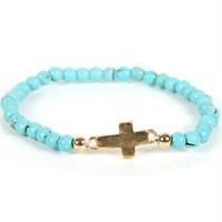 Gold/Turquoise Beaded Cross Bracelet