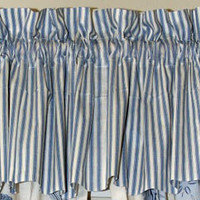 Brighton Blue Toile Blue Ticking Valance | Atlantic Linens