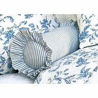 Brighton Blue Toile Blue Ticking Neckroll Pillow | Atlantic Linens