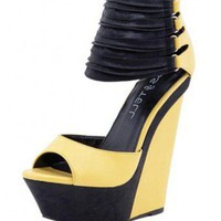 YELLOW COVER YOUR ANKLES WITH STRAP WEDGE @ KiwiLook fashion