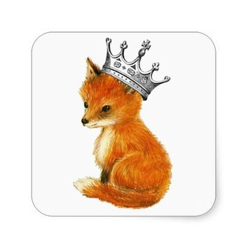Baby Fox Vintage Crown Stickers