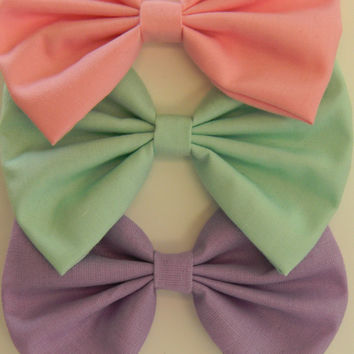 Light Pink Mint Green Lavender Classic Hair Bows