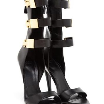 VERSUS   Leather Sandals with Triple Gold Clasp   Browns fashion & designer clothes & clothing