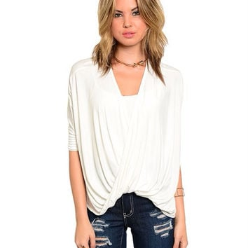 Twist Front Wrap Top / White