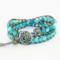 Double Wrap- Metallic silver leather bracelet with teal glass beads