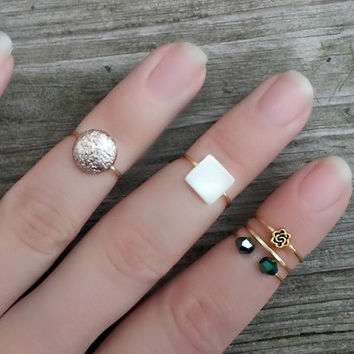 Gold Midi Ring Set, Gold Luster Knuckle Rings, Set of 5, Gold Stacking Rings, Gold Beaded Bohemian Rings