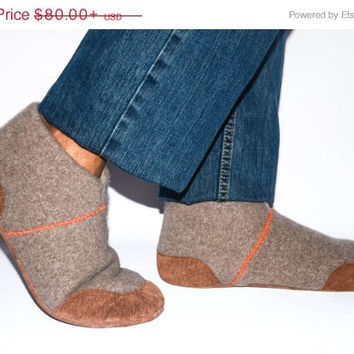 CYBERMONDAY SALE 10%, Unisex Cashmere Slippers from Recycled Materials, Eco-friendly Men & Women Cashmere and Leather Shoes. Size: USA Adult