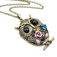 Texture Long Version Owl Style Necklace by Hallomall