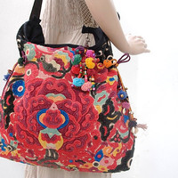 Appliqué Messanger Cross-Over Bag Hand Woven Vintage HMONG Fabric Genuine Adjustable Leather Strap Thailand (027L3.801%)