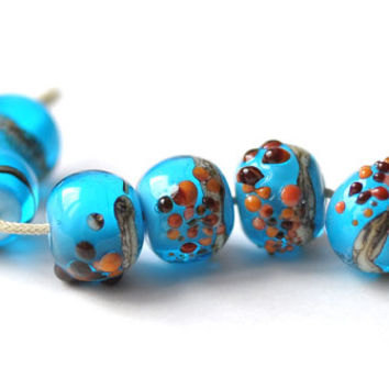 Free Shipping Free Form Bead - Turquoise Brown Firebrick Dotted - 6 Beads Set