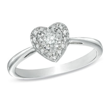 1/10 CT. Diamond Solitaire Heart Miracle Promise Ring in Sterling Silver - Size 7