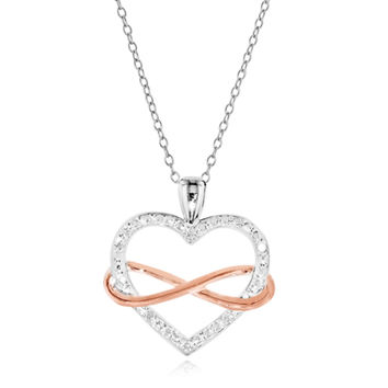 Diamond Accent Heart with Sideways Infinity Pendant in Two-Tone Sterling Silver