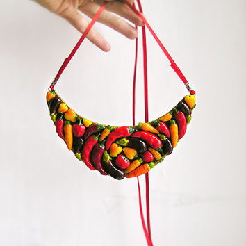 Statement Necklace Happy Vegetables, red orange, fruit and vegetables jewelry, bib chunky necklace, bright vegetarian jewelry