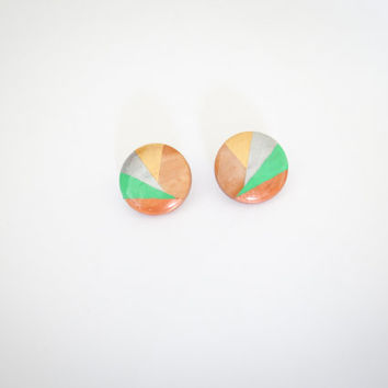 Triangle Geometric Wood Stud Earrings, Copper Green Silver Gold Large Studs, Oval Wooden Studs, Handpainted Wooden Jewelry, Hypoallergenic
