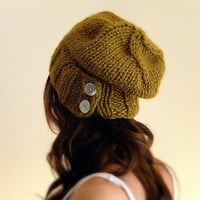 Womens Slouch hat knit unisex - Citrine