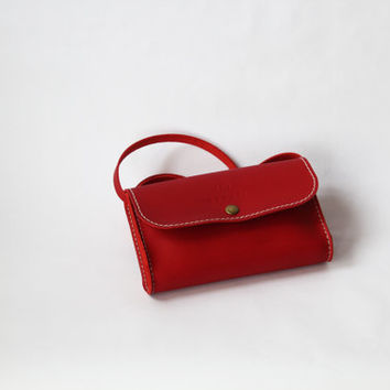 100 % handmade, handstitched   red leather  bag, by GENATI.