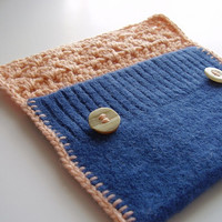 Small pouch with buttons Blue, peach, OOAK, upcycled wool sweater and crochet flap