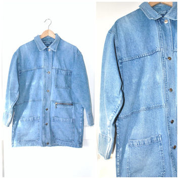 90s long DENIM jacket / vintage early 1990s GRUNGE relaxed fit LIGHT wash jean jacket os