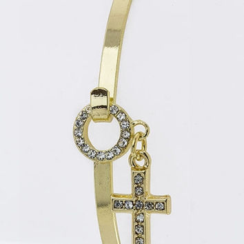 Crystal Cross Charm Layering Bangle