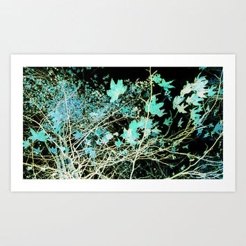 Blue Green Leaves Photograph, Branch, Whimsical, Photogram, Tree, Abstract, Nature, Black, Dreamy, Surreal, Nature, Infrared, Sky, Cyan