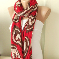Red, beige, brown  Cotton Scarf with hearts