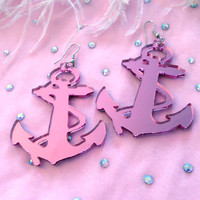 Pink or Silver Acrylic Anchor Earrings