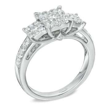 1 CT. T.W. Diamond Three Stone Square Composite Engagement Ring in 14K White Gold