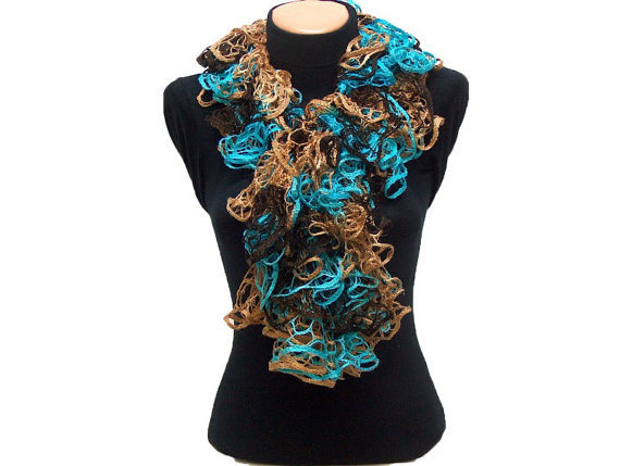 Hand knitted Camel,Turquoise, Brown ruffled scarf