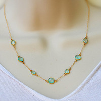 Natural Faceted Aqua Seafoam Chalcedony Vermeil Gold bezel rim set necklace - Lollipop Station Necklace