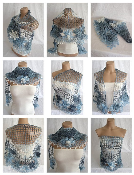 Hand crocheted blue white navy blue triangle Shawl Scarf