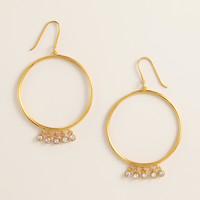 Gold and Cubic Zirconia Dangle Hoop Earrings - World Market