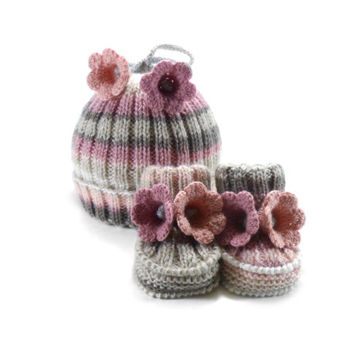Knitted Baby Hat and Booties - Gray, White and Pink, 6 - 12 month